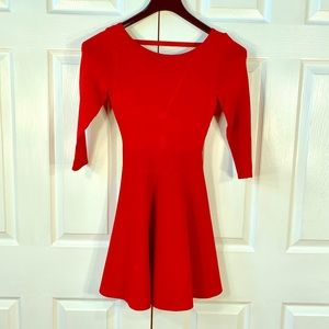 RED VISCOSE SKATER DRESS by GUESS SIZE XS